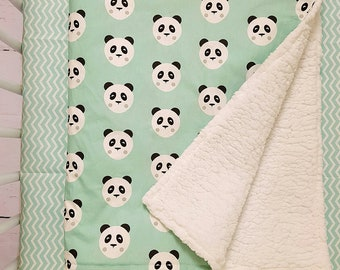 Panda blanket - minky blanket - custom blanket - stroller blanket - receiving blanket - security blanket - Infant blanket - crib blanket