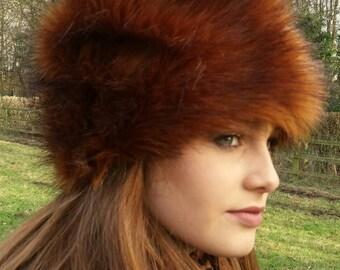 Beautiful Bronze Faux Fur Russian Style Hat.