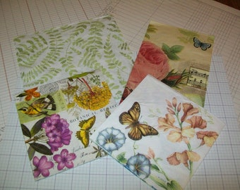 Flower Paper Napkins/ Bird Napkins for Decoupage/ Mixed Media/ Collage/ Altered Art