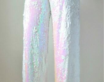 White Iridescent Sequin Wide Leg Pants