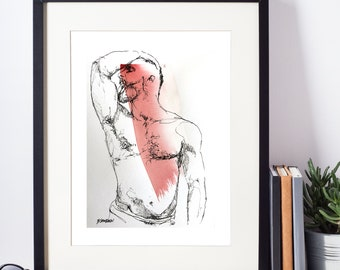 Original Ink Drawing - original art, male nude, gay art, male figure, male model, watercolor, male nude art, original pen & Ink, erotic art