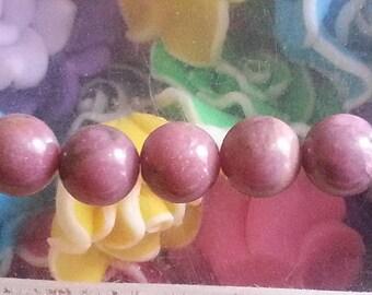 5 diameter 8 mm rhodonite bead, hole 1 mm