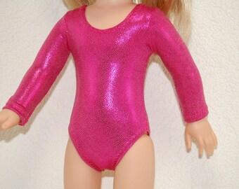 Gymnastics Leotard Doll Clothes dark pink handmade for 14.5 inch Wellie Wishers tkct1107