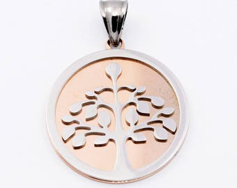 Pendant tree of life silver stainless steel on gold pink
