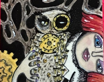 Steampunk Owl Girl ACEO ATC card original art
