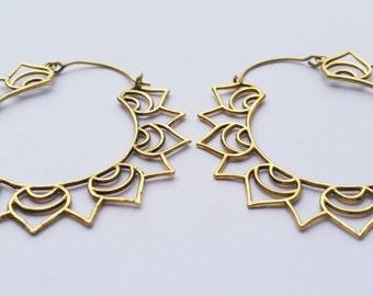 Large Brass Hoop Earrings, Hoop earrings, Boho Earrings, Lotus Flower, Indian Jewellery, Gold earrings, Gypsy Earrings, Boho Jewellery