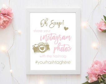 Printable Instagram Sign -- baby bridal birthday sign poster shower wedding diy customized party custom personalize colors party