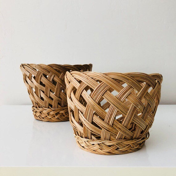 Vintage Beige Woven Basket Small Braided Plant Basket Plant Holder Storage Basket Boho Decor