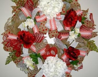 Everyday Floral Mesh Wreath, White Hydrangea, Red Roses, Mesh Wreath, Floral Wreath