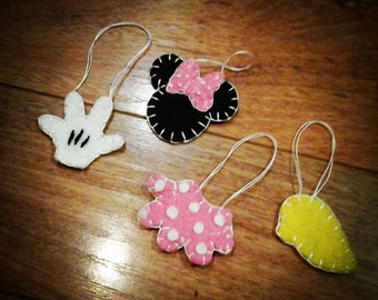 Minnie Mouse inspired ornaments Wool Felt Penny Rug type