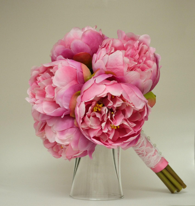 Silk Peony Bouquet Hot Pink Peonies Shabby Chic Peony Flowers