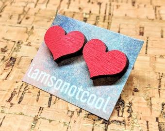 Wood Heart Earrings / Heart Shaped Wood Stud Earrings / Laser-Cut Wood Studs / Red Heart Earrings / Love Earrings / Hypoallergenic