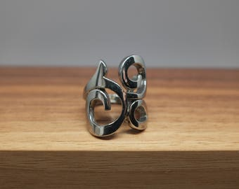 Vintage Danish Scandinavian Sterling Silver Ring w/ Funky Design