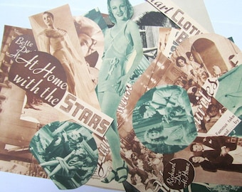 Vintage 1930s movie paper ephemera pack: 35 paper pictures, die cuts, clippings. Embellishments for altered art, collage, journals. EP892