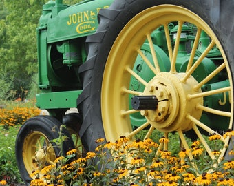 Tractor Photo - John Deere Photography - Green - Flower Photography print -Fine Art Photography -  Wall Art - John Deere Green