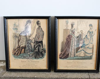 Vintage Victorian Magazine Journal Des Demoiselles 1800s Prints / Victorian Era French Fashion Illustration / Black Wood Frame / Home Decor