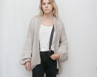 Knit Cardigan - Oversized Knitted Cardigan -Loose Sweater - Chunky Cardigan - Chunky Knit - Loose fit  - LILU Cardigan -Grey Cardigan