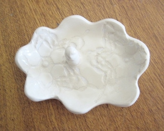 Antique white bridesmaid gift, ring holder, ring dish