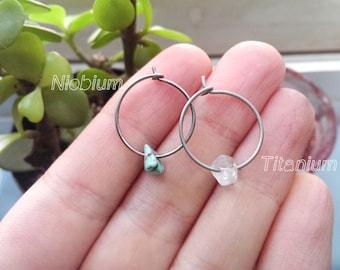 Titanium & Stone hoops   Niobium Stone hoops   non-allergenic earrings   titanium earrings   Quartz Hoops   Turquoise hoops   Stone hoops