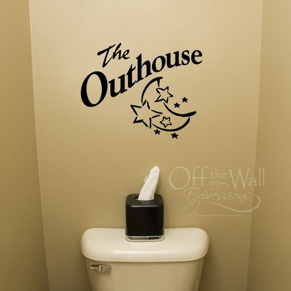 Outhouse vinyl decal Bathroom decor Wall decal for