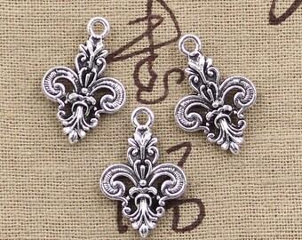 5 Fleur De Lis Charm Pendant 25mm x 16mm Intricate Micro Details - Antique Silver Tone - Jewelry Making
