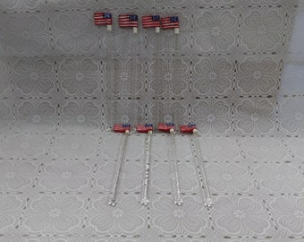 Patriotic American Flag Swizzle Sticks 4th of July Election Veteran's  Memorial Day Parties or Crafts Set of 8 (3)