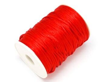 2mm By Roll Red Rattail Satin Nylon Cord Kumihimo Shamballa