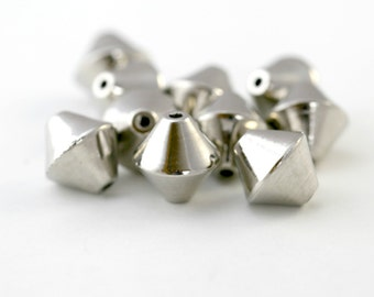Acrylic Beads Silver Bicone 18mm (10)