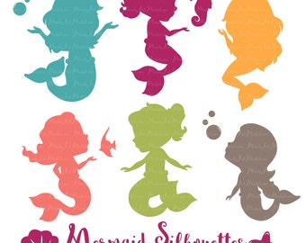 Professional Mermaid Silhouettes Clipart in Bohemian - bohemian Mermaids, Mermaid Clipart, Mermaid Vectors