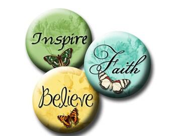 Printable Inspiring Words - Butterflies Round circle Digital Download  12mm, 14mm ,16 mm, 18 mm Believe Love Hope Create Laugh Faith Dream