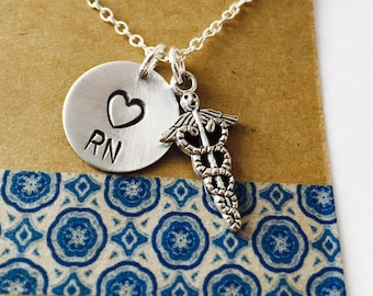 Nurse Hand Stamped Necklace, RN Necklace , Nurse Necklace with Name, Nurse Gift