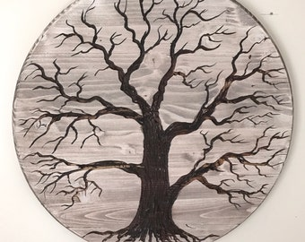 Tree of life hand carved hanging wood wall art, 18 inches