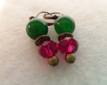 Red and Green Holiday Dangle Earrings