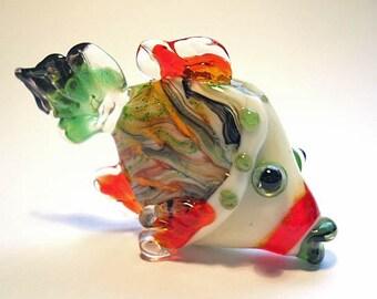 Orange & green Fish pendant necklace, lampwork glass bead, handmade 'yarn bombed' designer ocean focal bead, SRA art glass, SRAJD