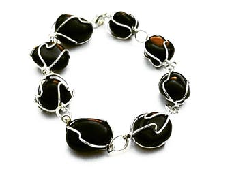 Black Wire Beaded Bracelet