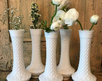 Milk Glass Bud Vases