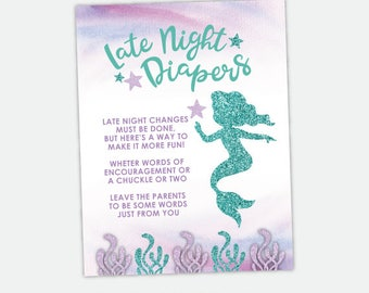Late Night Diapers Sign, Mermaid Baby Shower Games, Printable Digital Sign, Instant Download