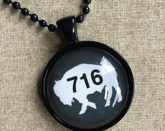 Gray 716 Buffalo NY Necklace - Buffalo Art - Buffalo Jewelry - Buffalo NY - Buffalove - Buffalo Gift  - Buffalo Print