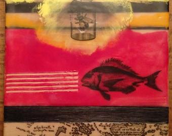 """6 x 6 Original Encaustic Painting """"Here Fishy Fishy..."""""""