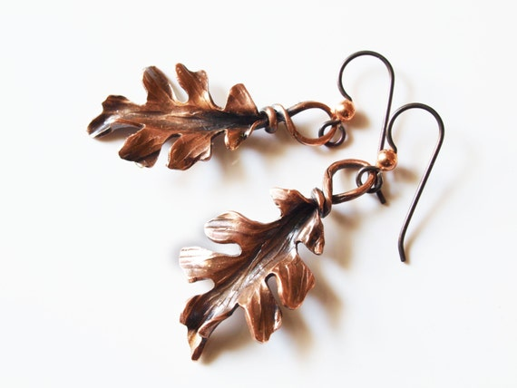 Hand forged Copper Oak Leaf Earrings -made to order