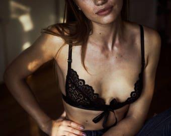 Black bralette – Ivy, Lace lingerie, Black lingerie, Black lingerie