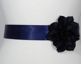Navy Blue Bridal Sash, Wedding Belt, Bridal Belt, Flower Girl Dress Sash, Bridesmaid Belt, Wedding Dress Satin Sash Belt, Simple Sash POSY