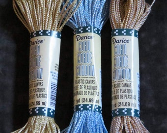 Metallic cord for plastic canvas & crafting,ass't colors,gold,silver,blue,27 yd/pkg,2mm thick,non-elastic,Darice