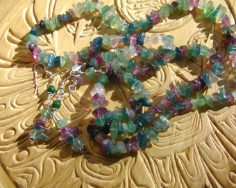 "32"" multi-colored flourite necklace trimmed in silver, with matching silver and flourite earrings."