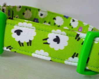 "Sheep Dog Collar - Farm Animal Dog Collar- Girl Dog Collar, Boy Dog Collar-Sheep on Lime Green - ""Sheep Herder"" -Free Colored Buckles"