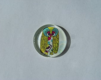 Cabochon 25 mm round and flat with a picture of owls