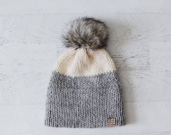 Double Brim Hat, Knitted Hat, Double Brimmed Hat, Knitted Double Brim Hat, Gray Hat, Modern Hat, Pom Pom Hat, Faux Fur Pom Beanie