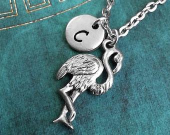 Silver Flamingo Necklace, Personalized Necklace, Animal Necklace, Monogram Necklace, Animal Jewelry, Flamingo Charm Necklace, Custom Gift