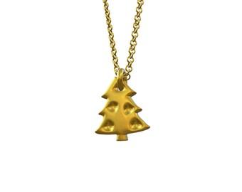 Tiny Christmas tree charm, solid gold Christmas tree charm, little gold Christmas tree charm, cute small Christmas tree