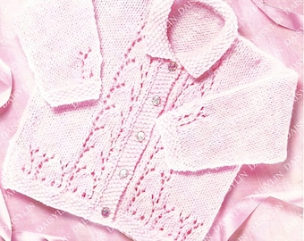 PDF Instant Digital Download easy knit baby cardigan knitting pattern double knit ages 0 to 5 years  (357)